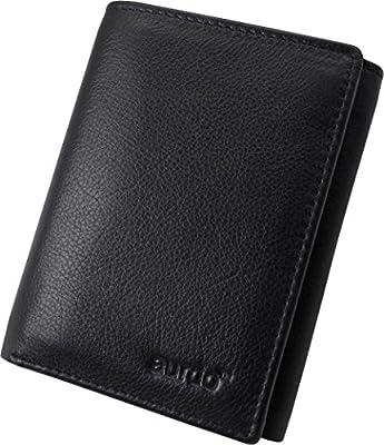 AurDo Mens RFID BLocking Leather Trifold Wallet with Id Window