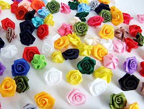 - 100 Assorted Tiny Satin Ribbon Rose Bows Diameter 10 mm. Tiny Embellishment Craft Artificial Applique Wedding