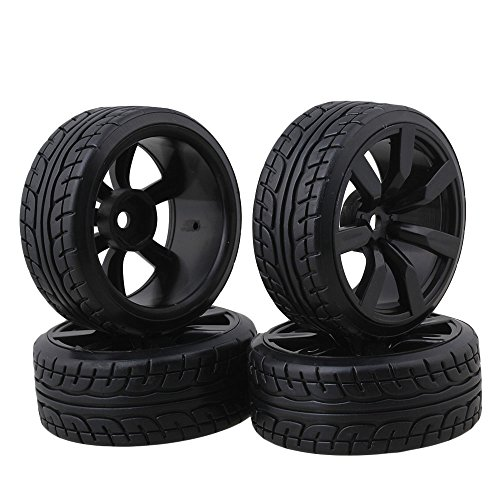 (BQLZR Tires with 7-Spoke Wheel Rims for RC1:10 Nitro Car Flat Racing Car Pack of 4)