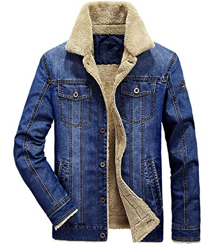 XinDao Men's Plus Size Plus Cotton Warm Fur Collar Sherpa Lined Denim Jacket Button Down Classy Casual Quilted Jeans Coats Outwear Light Blue US S/Asia 2XL