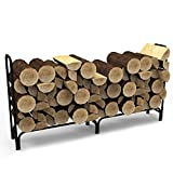 Elite Flame 8 Foot Indoor Outdoor Black Shelter Firewood Log Rack