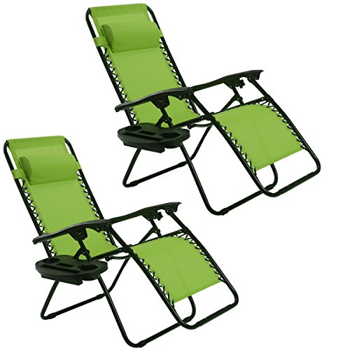 (Goplus Zero Gravity Chair Set 2 Pack Adjustable Folding Lounge Recliners for Patio Outdoor Yard Beach Pool w/Cup Holder, 300-lb Weight Capacity (Green))