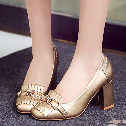 YE Damen Elegant Chunky High Heels Geschlossen Pumps mit Bequem Blockabsatz und Fransen 5cm Absatz Schuhe Gold