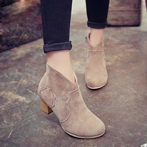Botas Mujer,Ouneed ® Las mujeres de moda corto cilindro botas tacones botas tobillo Martin (38, Caqui)