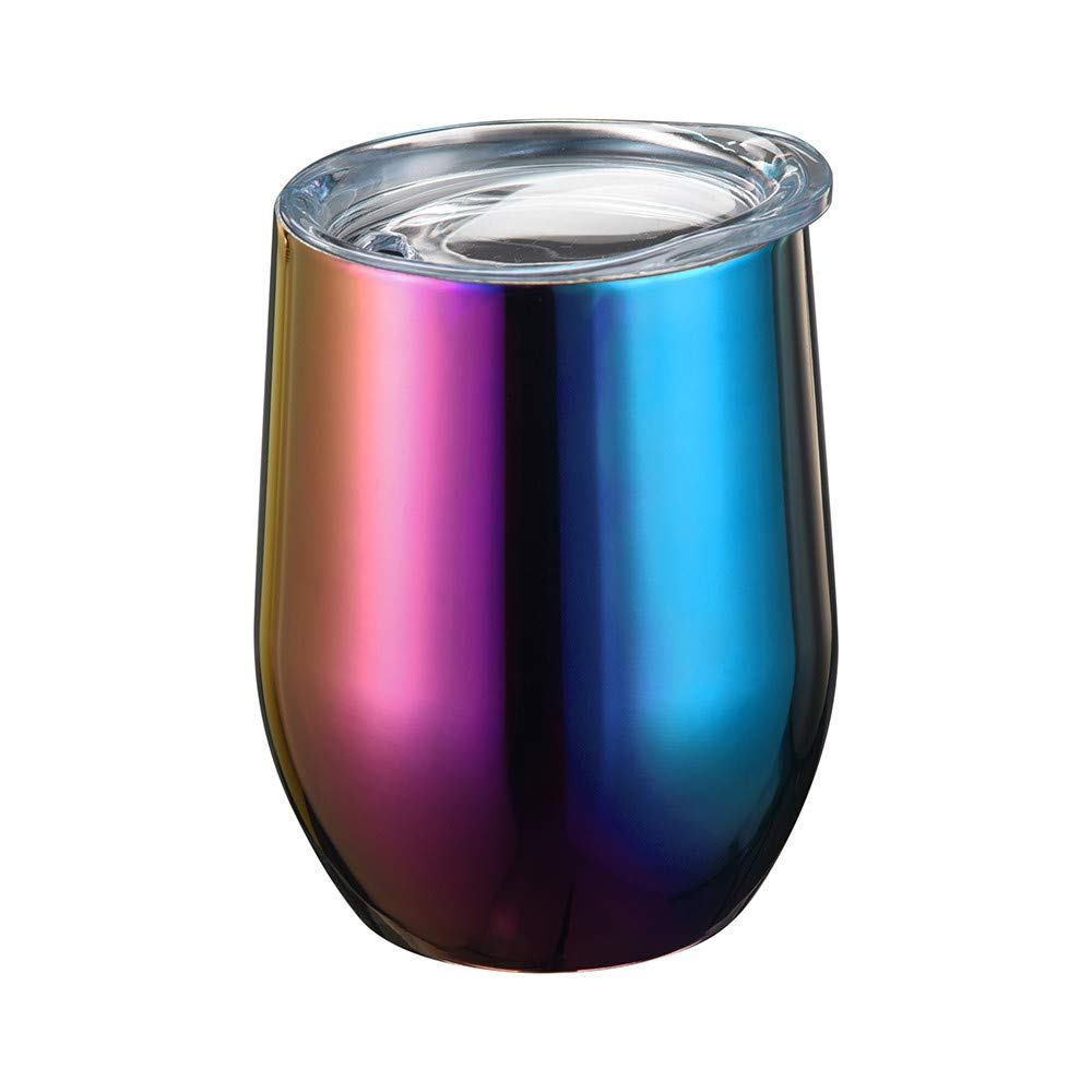 Vinjeely 9oz Stemless Steel Galaxy Gradient Color Water Wine Cup Tumbler Double Wall Vaccum Bottle
