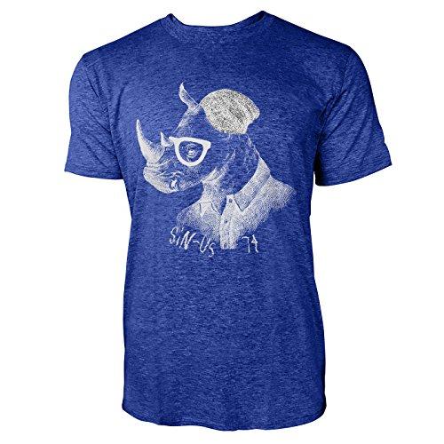 SINUS ART ® Hipster Nashorn mit Brille und Mütze Herren T-Shirts in Vintage Blau Cooles Fun Shirt mit tollen Aufdruck