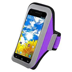 Purple ArmBand Workout Case Cover For BLU Studio 5.5 D610a with Free Pouch