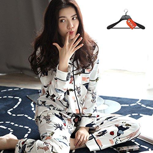 c369254e Hogar Mujeres Larga Para Pueden Mujer size Algodón Pijamas Manga Piezas L  Usarse El Dos Servicio ...