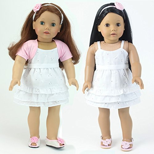 Eyelet 18 Inch Doll Dress in White, Headband & Shrug, Fits 18 Inch American Doll Clothes & More! (Doll Shoes sold separately) Sophia's 3 Pc. Outfit Set of Doll Dress, Headband & Shrug