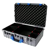 Pelican Silver & Blue 1555 Air case. Comes with TrekPak divider kit.