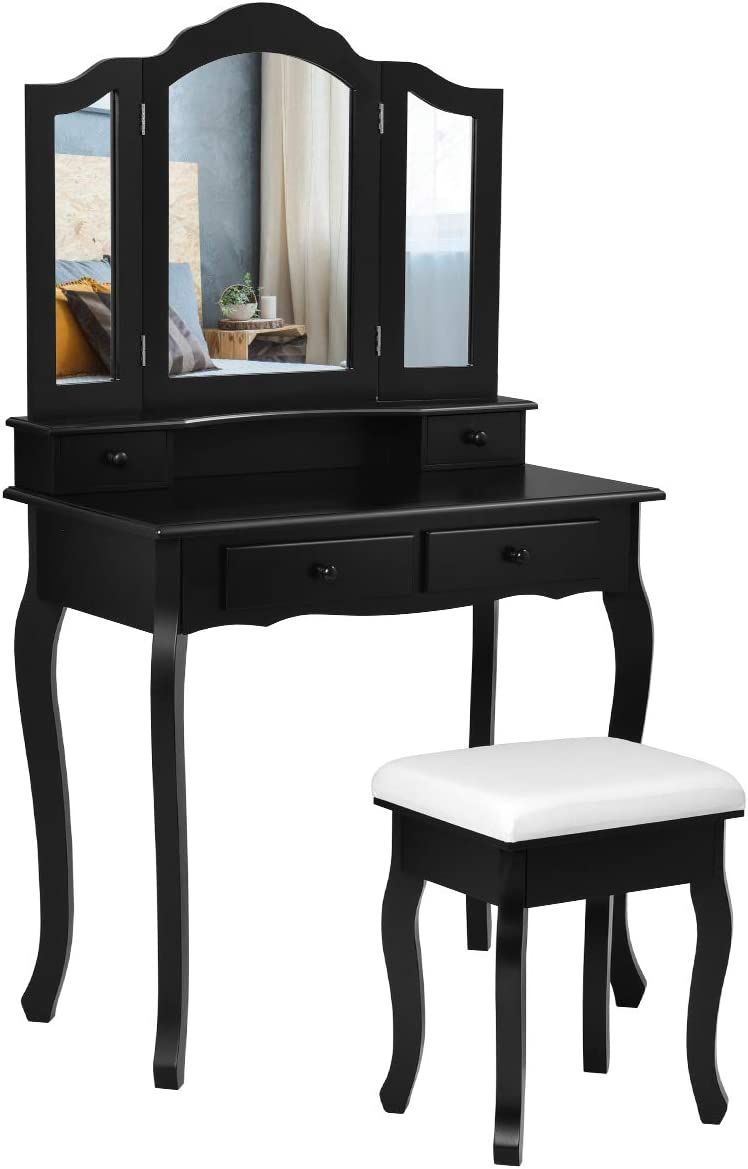Giantex Vanity Table Set with Tri-Folding Mirror and Cushioned Stool, Makeup Dressing Table with 4 Drawers and Storage Shelf, Modern Bedroom Bathroom Makeup Table for Women Girls Gifts Black