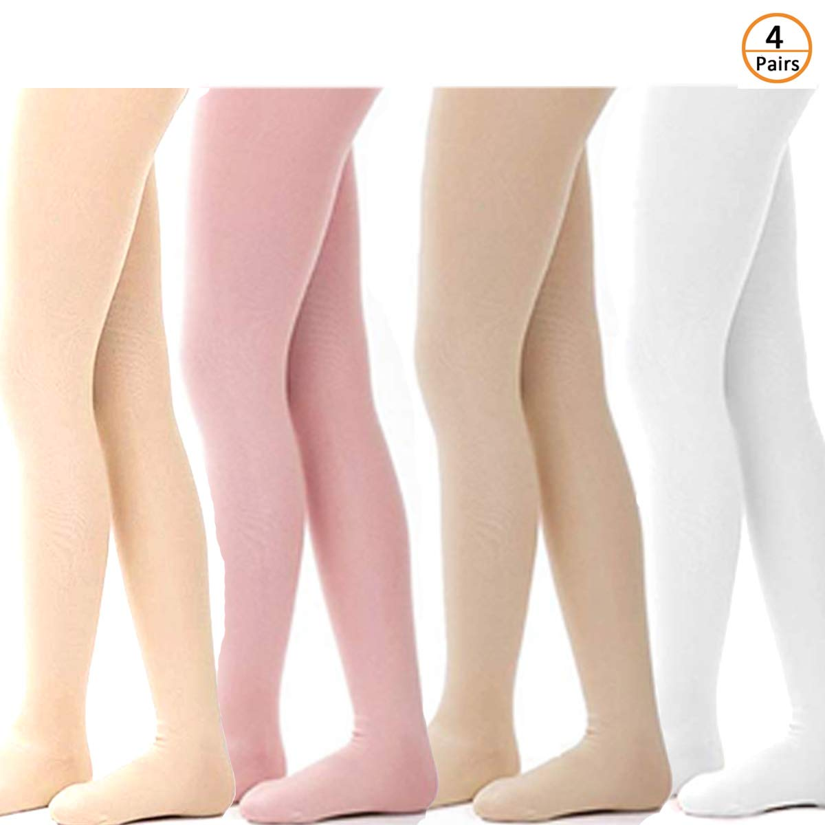 Summer Win 4 Pairs Girls Ultra Soft Pro Dance Tights Ballet Footed Tight