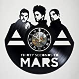 Thirty Seconds to Mars - Jared Leto - Vinyl Wall Clock - Handmade artwork unique home bedroom living kids room nursery wall decor great gifts idea for birthday, wedding, anniversary - customize your c