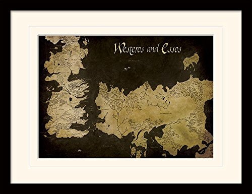 Game Of Thrones Westeros And Essos Antique Map Framed & Mounted Print - Overall Size: 36 x 46 cm (14 x 18 inches) Mount Size: 30 x 40 cm (Essos Map)