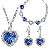 """Pauline & Morgen """"Blue Love"""" SWAROVSKI ELEMENTS Crystal White Gold Plated Women Jewellery Set Bracelet Necklace Earrings. Birthday Valentines Mothers day Christmas Anniversary Wedding Gifts for Wife"""
