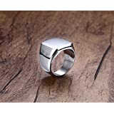 Fashion Polished Stainless Steel Ring Band Biker Titanium Mens Signet Ring Gift ERAWAN (10 #, Silver)