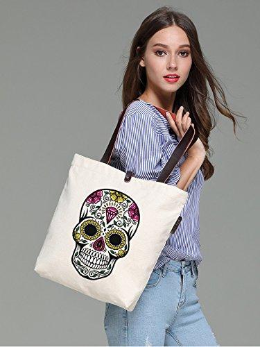 So'each Women's Floral Diamonds Skull Graphic Canvas Handbag Tote Shoulder Bag
