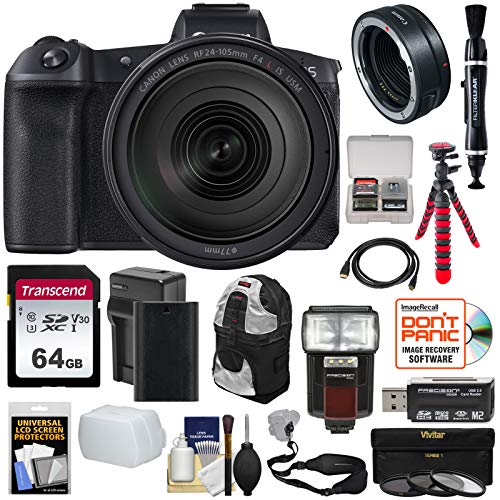 Canon EOS R Full Frame Mirrorless Digital Camera & 24-105mm f/4 L is Lens + Mount Adapter + 64GB Card + Battery + Filters + Backpack + Strap + Tripod + Flash Kit