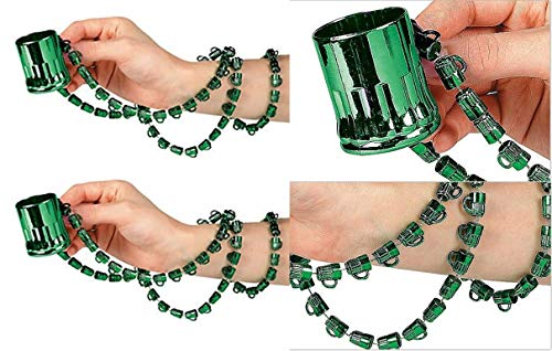 HAPPY DEALS ~ Green Beer Mug Bead Necklaces with Shot Glasses for St. Patrick's Day or Mardi Gras ( Pack of 12 Individually Sealed )