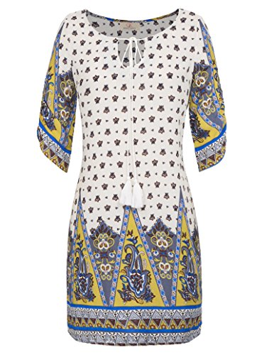 GRACE-KARIN-Womens-Bohemian-Tied-V-Neck-Ethnic-Printed-Casual-Dress
