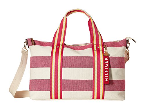 (Tommy Hilfiger Women's Classic Tote Convertible Weekender Woven Rugby Raspberry Print/Natural One Size)