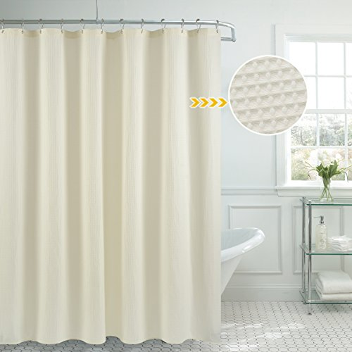 Waffle Weave Fabric Shower Curtain Heavyweight  – Hotel Lu