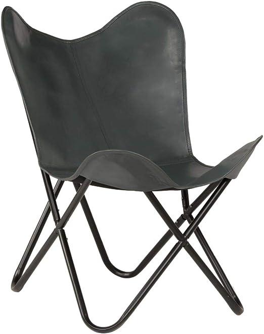 Festnight Retro Butterfly Sessel Echtleder | Klappstuhl Loungesessel Liegestuhl Campingstuhl Ledersessel | 74 x 66 x 90 cm Grau