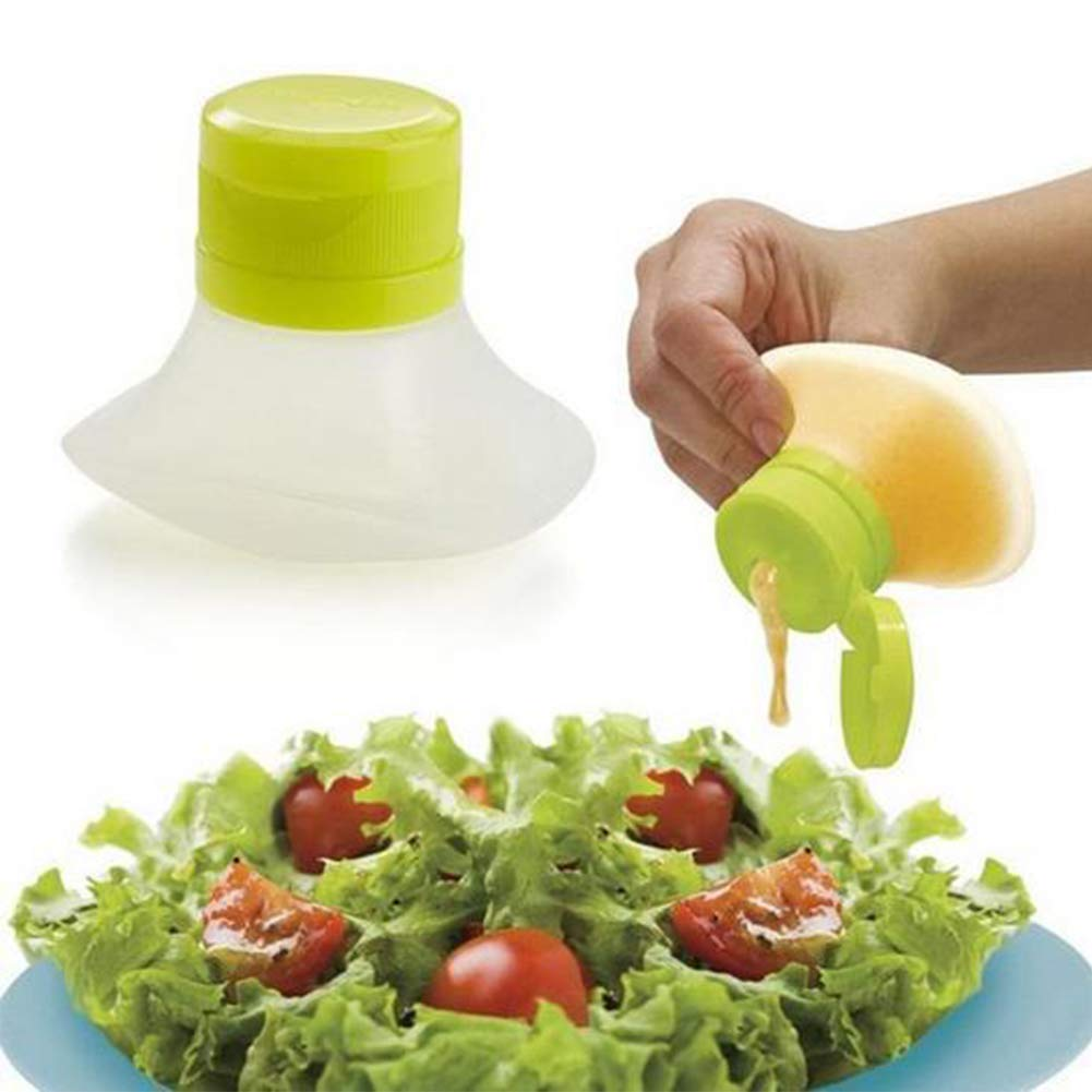 Mini Salad Dressing Bottle,Salad Dressing Container Mini Squeeze Go Salad Containers, Mini Leak-Resistant Food Storage Containers Condiment Sauce Containers(7.3×5.5×6 cm,Green)