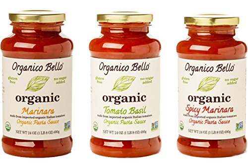 Organico Bello - Organic Gourmet Pasta Sauce - Variety Pack - 24oz (Pack of 3) - Non GMO, Whole 30 Approved, Gluten Free
