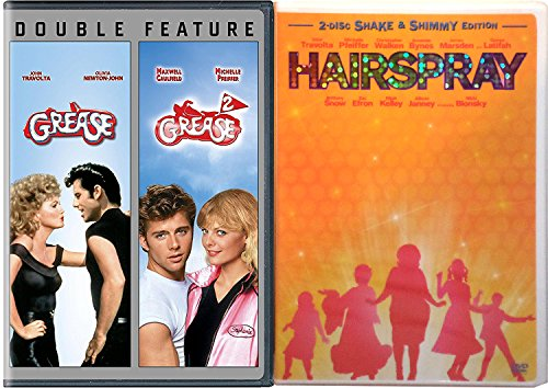 Grease & Grease 2 + Hairspray Musical DVD John Travolta Set Special Edition Bonus Videos Shimmy Shake 3 movie set
