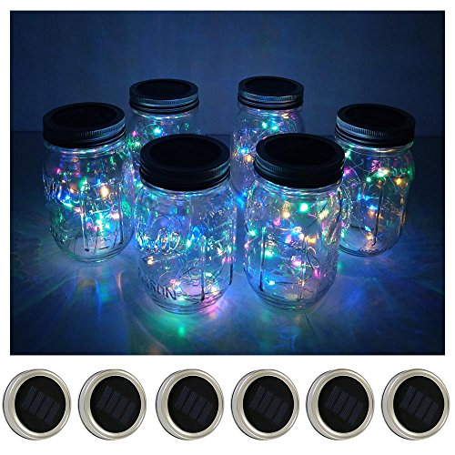 6 Pack Mason Jar Lights 10 LED Solar Colorful Fairy String Lights Lids Insert for Patio Yard Garden Party Wedding Christmas Decorative Lighting Fit for Regular Mouth Jars(Jars Not Included)