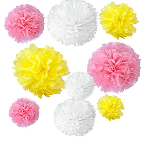 (Somnr® Set of 18PCS Mixed White Yellow Pink Party Tissue Pom Poms Wedding Flowers Birthday July 4th Holiday Paper Hanging)