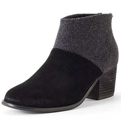 Toms Leila Black Wool Felt Booties 10006204 Women 5.5