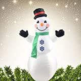 Inflatable Christmas Airblown LED Snowman Yard Decorations With Hat and Scarf (White)