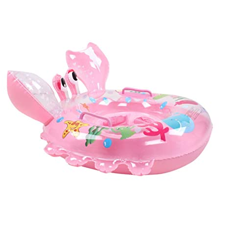 Flotador de piscina para niños con asas de seguridad, flotador de cangrejos de dibujos animados