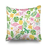 Throw Pillow Covers Tropical Summer Nature Flamingo Square Size 16 x 16 Inches Decorative Pillow Cases Home Decor Zippered Bedroom Sofa Pillowcase