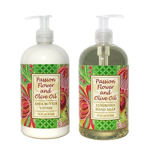 Greenwich Bay PASSION FLOWER OLIVE OIL Hand & Body Lotion and Hand Soap Duo Set Enriched With Shea Butter 16 oz ea.