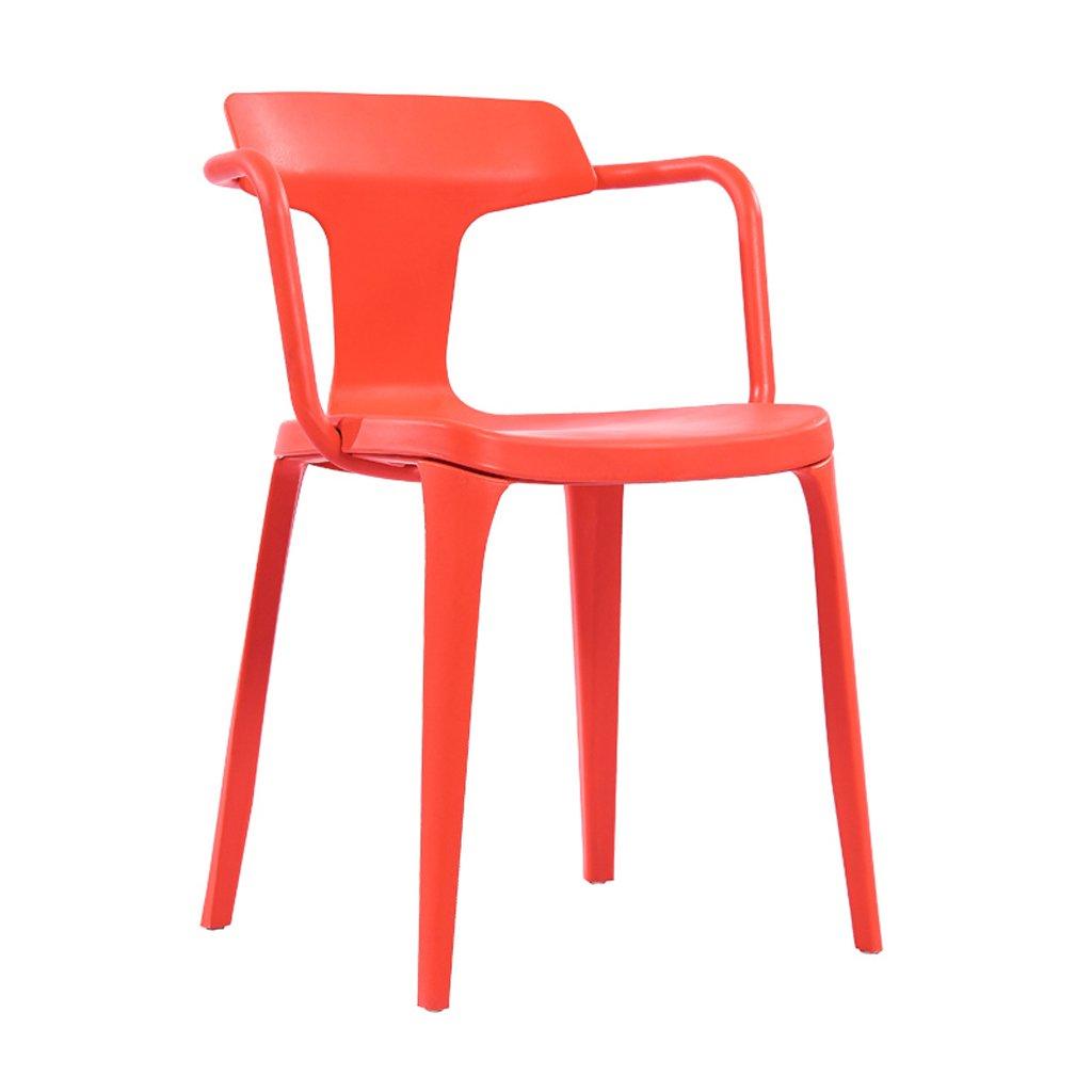 JJJJD 北欧の現代的なミニマリスト創造的なカジュアルなダイニングチェア家のプラスチック背もたれアームレストはレストランのシンプルチェアを議論する (Color : Red) B07SL92G5J Red
