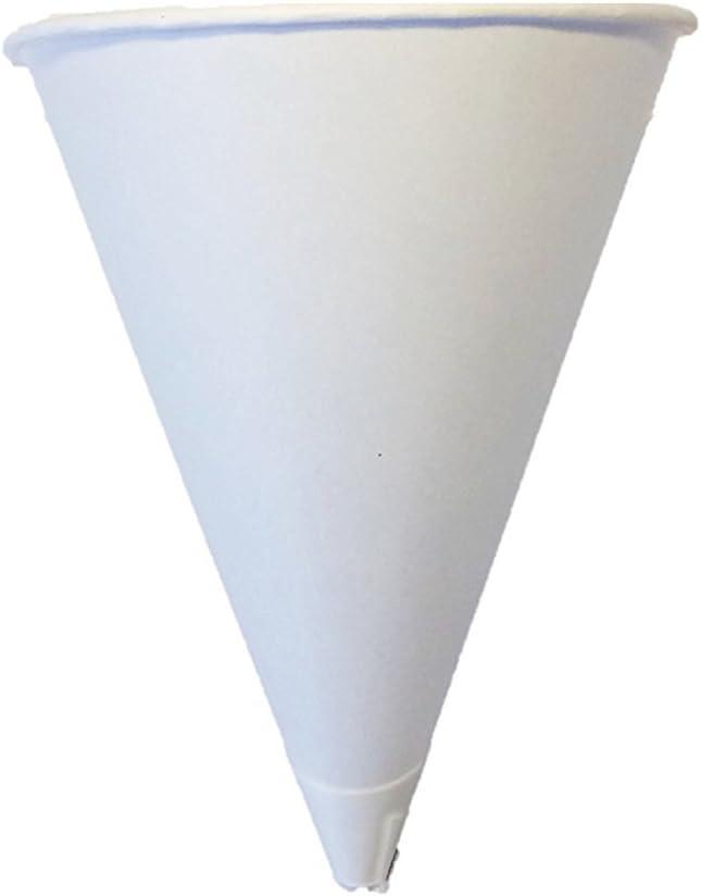 Solo Bare 4 oz. Recyclable Paper Cone Water Cup, Rolled Rim 800ct. 4R-2050 {Vasos de Agua con Forma de Cono} (4 Boxes (800ct))