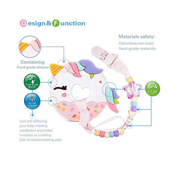 A.Voice Unicorn Donut Cookies Silicone Teether Pacifier Clip Set Non Toxic(Pink) 6