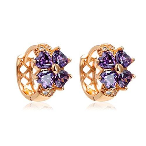 Windshow Girls 18K Gold Plated 4 Leaf Clover Heart Cut Small Hoop Huggie Earring (Purple)