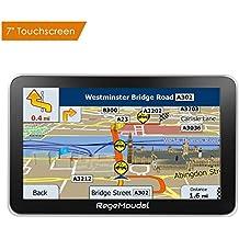 [Patrocinado] RegeMoudal - Navegación GPS para coche, 7 pulgadas, sistema de navegación GPS para coche, sistema de memoria 8G, portátil, camión, navegador, pantalla táctil, multimedia, preinstalado, mapas de por vida