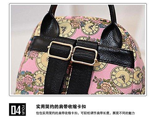 Gaorui Blumen Vintage Reise Backpack Rucksack Schultasche Canvas Leinwand Tasche Rosa QwpZSa