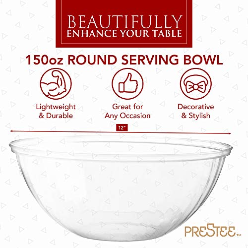 Clear Plastic Serving Bowls for Parties | 150 Oz. 4 Pack | Round Disposable Serving Bowls | Clear Chip Bowls | Party…