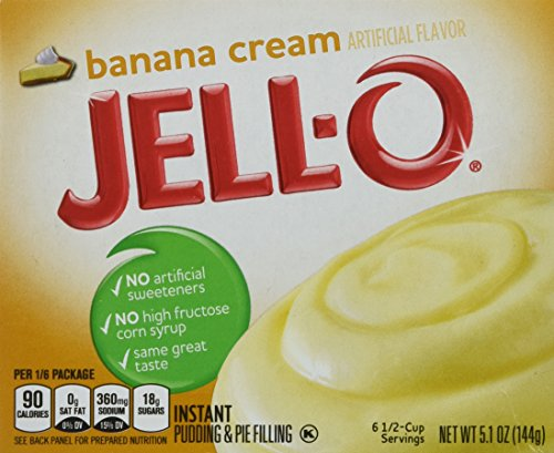 JELL-O Instant Pudding & Pie Filling Mix, Banana Cream, 6 Count, 30.6 Ounce (Pie Mix Cream)