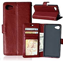 Tikeda-sony Xperia Z5 Compact Case Beauty Luxury Leather Wallet Flip Stand Case Cover for Sony Xperia Z5 Compact [Built-in 3 Credit Card Slots/id Card/business Card Holders ] + Usps Fast Shipping