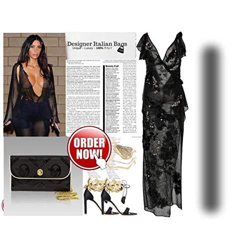 italiano Black Valentino cadena Cartera Diseador con de Orlandi cuero Monogram tqtgHEw
