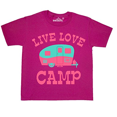 inktastic - Live Love Camp RV Youth T-Shirt Youth Small (6-8) Cyber Pink