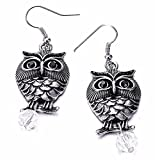 ptk12 Vintage Dangle Earrings Animal Owl Long earring for Women jewelry Antique Silver-Color