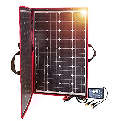 DOKIO 100W 12V Foldable Solar Panel Kit Monocrystalline with Solar Controller USB Output for Caravan RV Boat Camper Any Other Irregular Surface